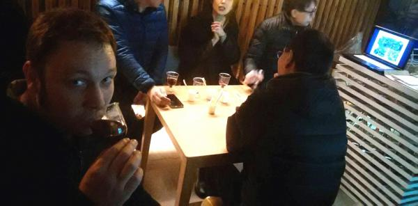 Tony Enjoying a Glass of Wine in Date Town ・ 伊達町で一杯の葡萄酒を楽しむトニー
